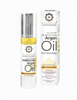 MOROCCAN ORGANIC ARGANOVY OLEJ PRO PLEŤ A TĚLO (with 100% Natural Sweet Orange O